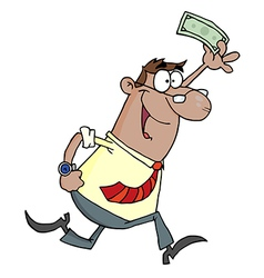 Hispanic businessman running and holding up cash vector