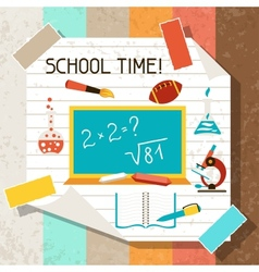 School and education background with sticky papers vector