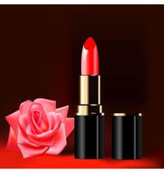 Lipstick rose background vector
