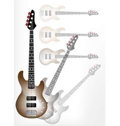 Beautiful brown electric guitar with guitar shadow vector