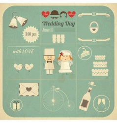 Wedding invitation infographics retro card vector