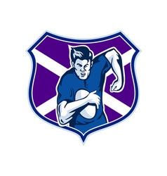 Rugby player flag and shield of scotland vector