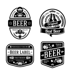 Black monochrome beer labels of different shapes vector