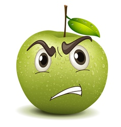 Angry apple smiley vector
