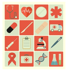 Flat icons medical vector