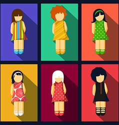 Set of girl flat icons with colorful dresses vector