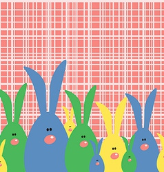 Happy easter card with cute bunnies vector