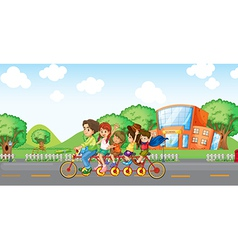 A family travelling with a family bike vector