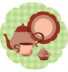Tea set with muffin vector