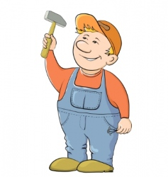 Worker with a hammer vector