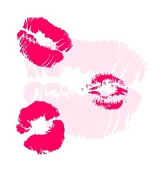 Pink lips imprints on white colorful contrast vector