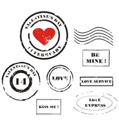 Valentine's day post stamps vector