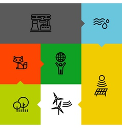 Ecology green environment line icons set vector