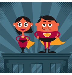 Superhero couple cartoon vector