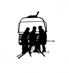Ski lift and people vector