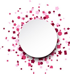 Round paper card over pink confetti vector