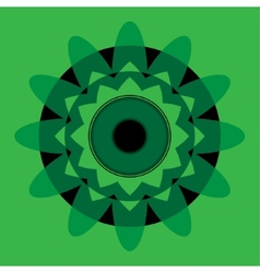 Green mandala with black eye vector