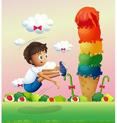 A boy exercising near the giant ice cream vector