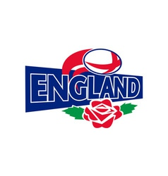 Rugby ball england english rose vector