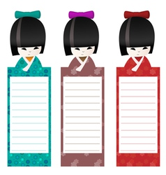 Kokeshi bookmark background vector