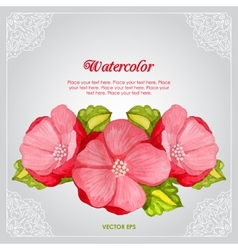 Watercolor peony invitation card with flower vector