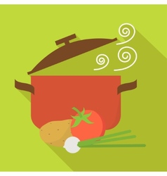 Food and cooking icons vegetarian soup flat design vector