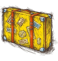 Yellow suitcase vector