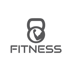 Fitness emblem with muscle and kettlebell vector