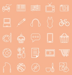 Hobby line icons on orange background vector