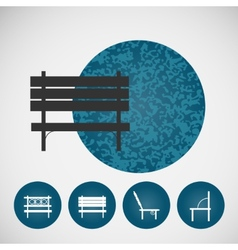 Set vintage street bench on colored backgrounds vector