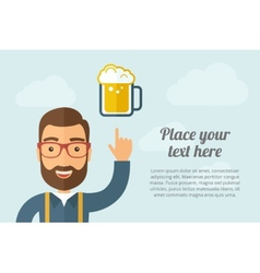 Man pointing the mug of beer icon vector