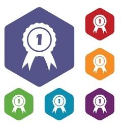 1st place hexagon icon set vector