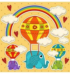 Elephant in a balloon baby card vector