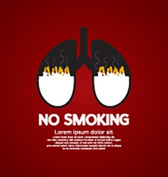 Cigarettes ash in lung-no smoking concept vector