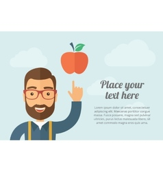 Man pointing the red apple icon vector