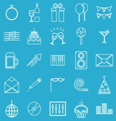 Celebration line icons on blue background vector