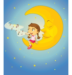 Sleepy girl moon vector