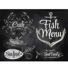 Set collection of seafood chalk vector