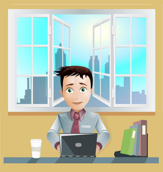 Office men working computer vector