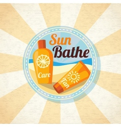 Sun care creams on the beach vector