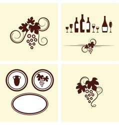 Grape vines elements set vector