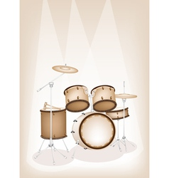 A beautiful drum kit on brown stage background vector