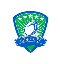 Rugby ball with stars shield vector