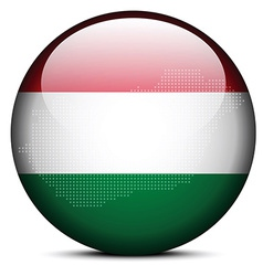 Map with dot pattern on flag button of hungary vector