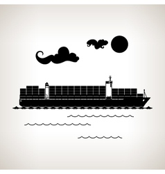 Silhouette cargo container ship on a light backgro vector