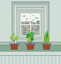 Set of pot plants on windowsill vector