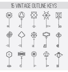 Vintage outline keys set retro icons logo vector