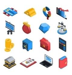 Financial icons isometric vector