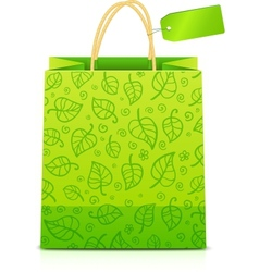 Green paper shopping bag with floral ornament vector