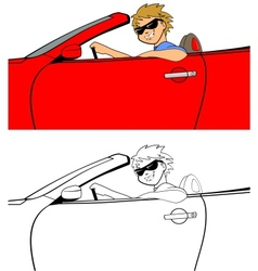 Cool guy in convertible vector